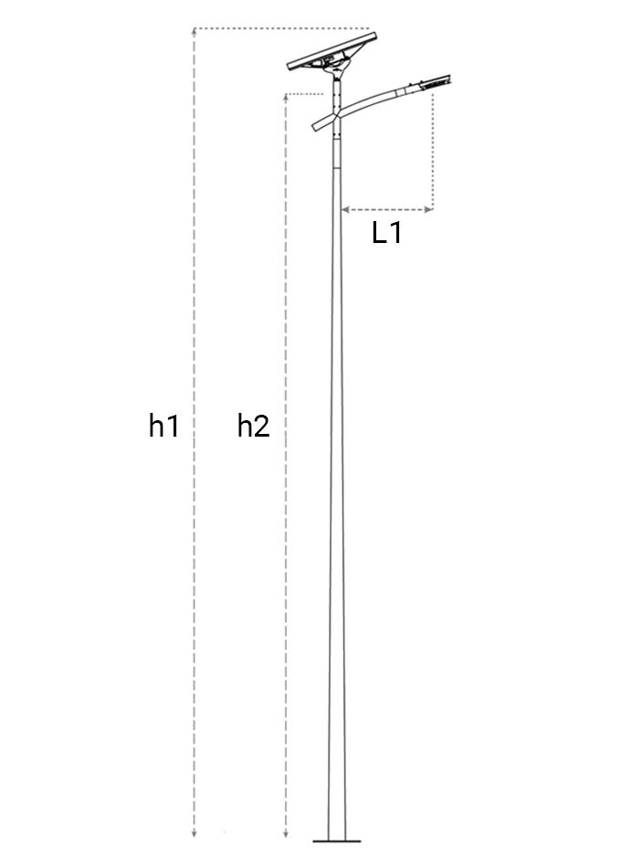 Plan candelabre solaire 200 et 250 W à panneau solaire autonome